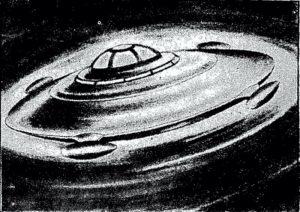 """""""Οι δίσκοι είναι πραγματικότητα"""", ισχυριζόταν ο Γάλλος μηχανικός Μπωμόν και για να υποστηρίξει την γνώμη του σχεδίασε το εικονιζόμενο μηχάνημα στηριζόμενος σε περιγραφές ατόμων που είχαν δει παρόμοια αντικείμενα..."""