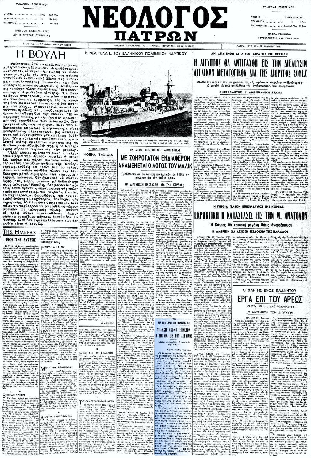 """Το άρθρο, όπως δημοσιεύθηκε στην εφημερίδα """"ΝΕΟΛΟΓΟΣ ΠΑΤΡΩΝ"""", στις 24/06/1951"""