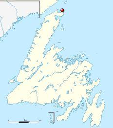 Το L'Anse aux Meadows, όπως φαίνεται στον χάρτη