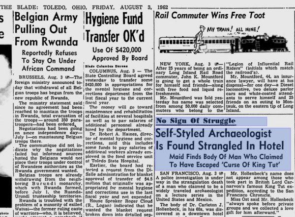 """Η δημοσίευση της είδησης του θανάτου του αρχαιολόγου Carleton James Hollenbeck, στην αμερικάνικη εφημερίδα """"TOLEDO BLADE"""", του Οχάιο, στις 03/08/1962"""