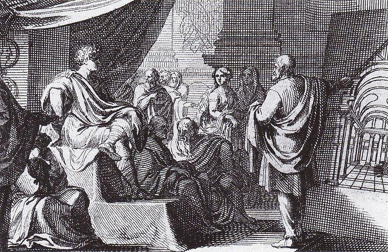 Ο Βιτρούβιος εξηγεί την Αρχιτεκτονική στον Αύγουστο, πίνακας του Sebastien Leclerc (1637–1714)