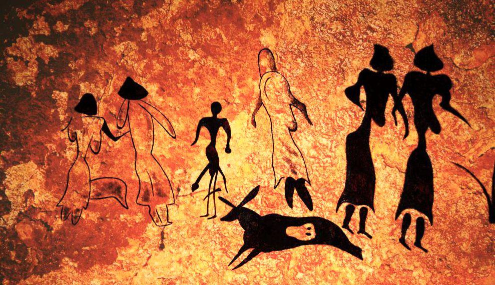 Προϊστορική σπηλαιογραφία όπου παρουσιάζονται γυναικείες μορφές