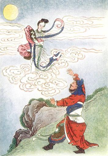 Ο Χόου Χι, καθώς κοιτάζει απεγνωσμένα τη γυναίκα του να πετάει προς το Φεγγάρι