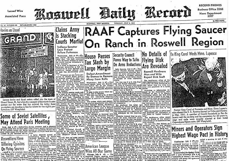 """Η είδηση, στο πρωτοσέλιδο της αμερικανικής εφημερίδας """"Roswell Daily Record"""", στις 09/07/1947"""