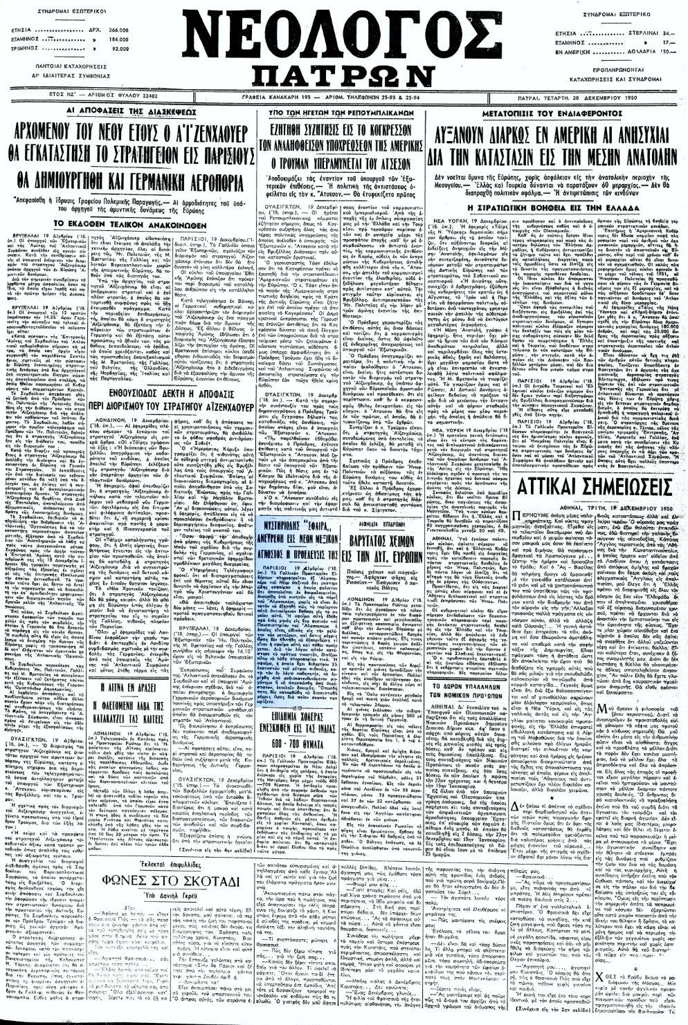 """Το άρθρο, όπως δημοσιεύθηκε στην εφημερίδα """"ΝΕΟΛΟΓΟΣ ΠΑΤΡΩΝ"""", στις 20/12/1950"""
