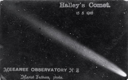 Φωτογραφία του κομήτη του Χάλεϋ, τραβηγμένη από το Παρατήριο Meeanee, στη Νέα Ζηλανδία, 1910