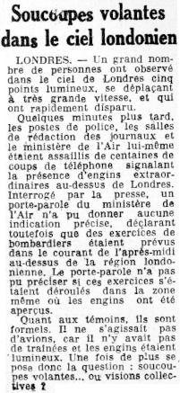 """Το άρθρο με τον τίτλο: """"Ιπτάμενοι δίσκοι στον ουρανό του Λονδίνου"""", όπως δημοσιεύτηκε στην ημερήσια γαλλική εφημερίδα """"Le Meridional"""", στις 25/11/1955"""