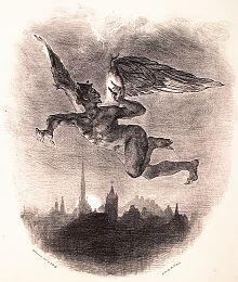 Ο Μεφιστοφελής πετώντας πάνω από τη Βυρτεμβέργη (λιθοθραφία του Ευγένιου Ντελακρουά)