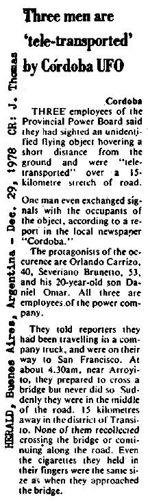 """Η είδηση, όπως δημοσιεύθηκε στην εφημερίδα """"Herald"""", στις 29/12/1978"""