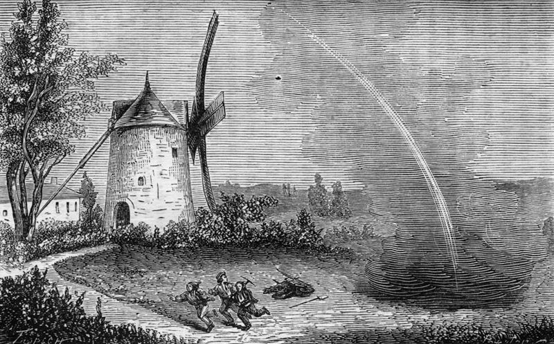 Γκραβούρα του 1865, στην οποία απεικονίζεται η πτώση του μετεωρίτη στο Οργκέιγ, το 1864