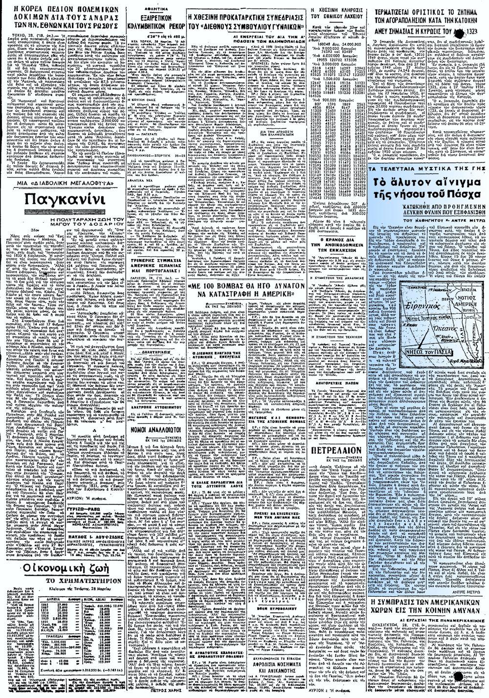 """Το άρθρο, όπως δημοσιεύθηκε στην εφημερίδα """"ΕΜΠΡΟΣ"""", στις 29/03/1951"""