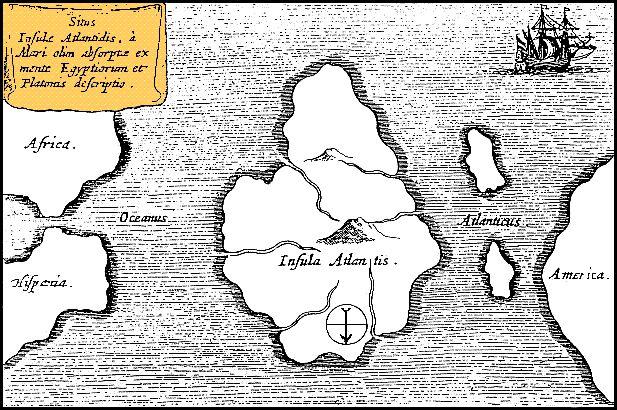 Χάρτης του 1669, που τοποθετούσε την Ατλαντίδα στη μέση του Ατλαντικού Ωκεανού. Ο χάρτης είναι προσανατολισμένος με τον Νότο στην κορυφή!