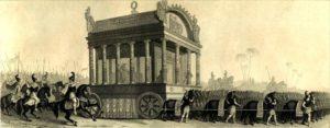 Απεικόνιση της νεκρικής πομπής του Μεγάλου Αλεξάνδρου, βασισμένη στις περιγραφές του Διόδωρου (19ος αιώνας)