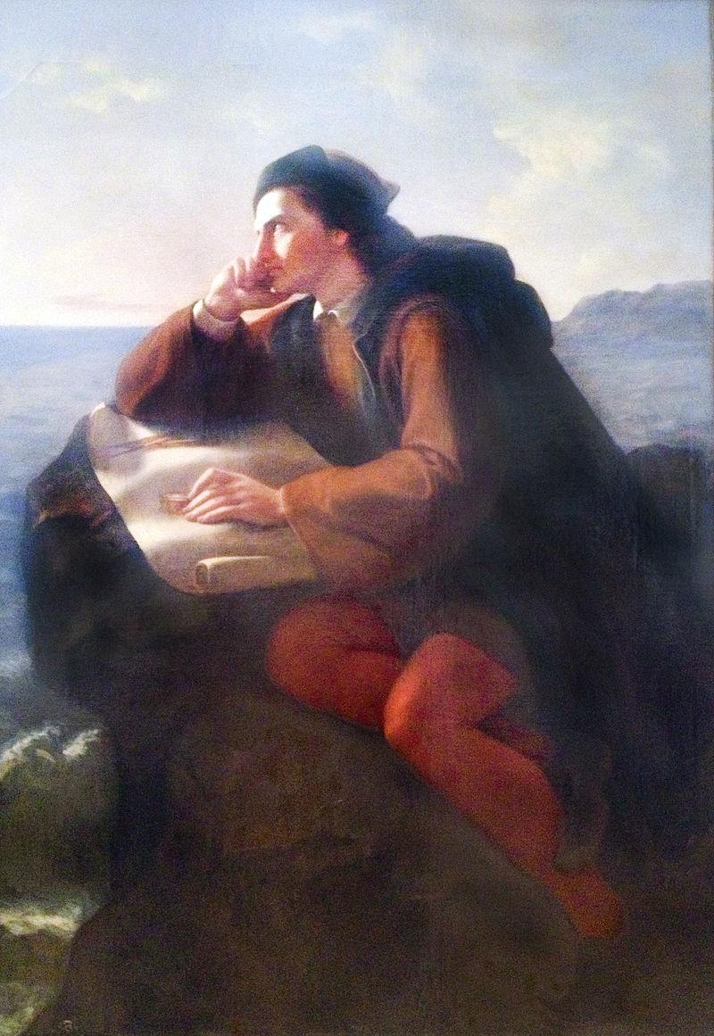 """""""Η έμπνευση του Χριστόφορου Κολόμβου"""", πίνακας του Jose María Obregon, 1856"""