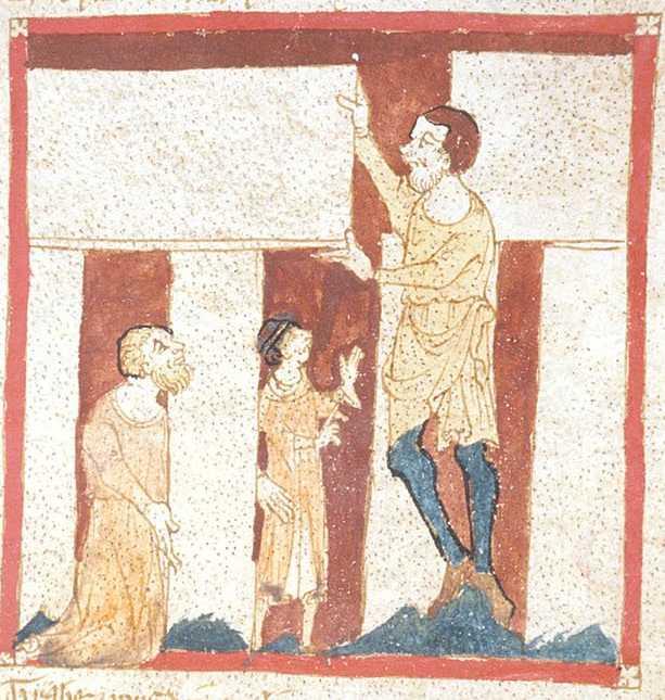 Ένας γίγαντας βοηθά τον Μέρλιν στο χτίσιμο του Στόουνχεντζ (Roman de Brut)