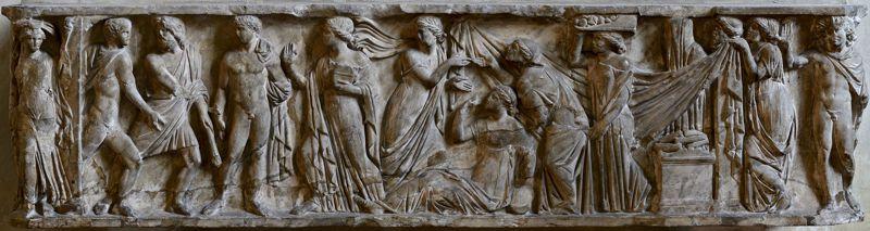 Σκηνές από το μύθο του Πρωτεσίλαου και της Λαοδάμειας σε σαρκοφάγο του 2ου αιώνα μ.Χ. (Νάπολη)