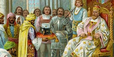 Απεσταλμένος του Harun al-Rashid προσφέρει στον βασιλιά Καρλομάγνο το περίφημο ρολόι
