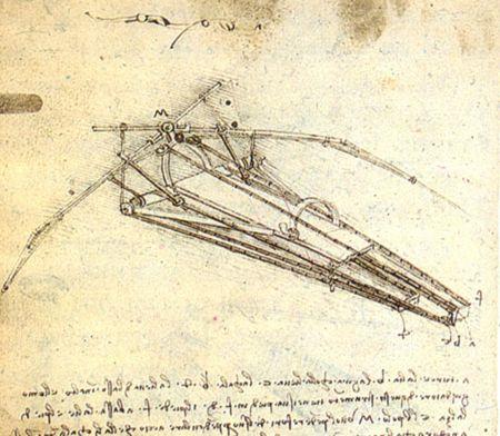 Σχέδιο της πτητικής μηχανής του Leonardo da Vinci (1488)