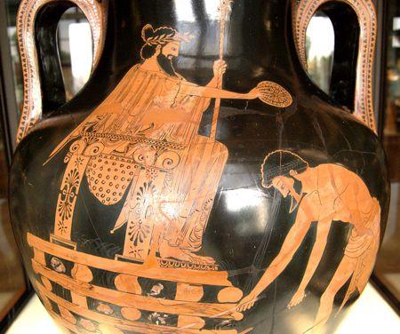Ο βασιλιάς Κροίσος στην πυρά, αττικός αμφορέας του 5ου π.Χ. αιώνα (Μουσείο του Λούβρου, Παρίσι)