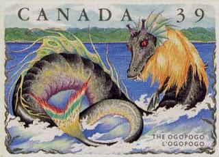 Καναδικό γραμματόσημο του 1990, που απεικονίζει το Ogopogo