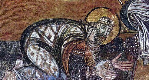 Ψηφιδωτό στην Αγία Σοφία της Κωνσταντινούπολης, που απεικονίζει τον Λέοντα ΣΤ' να αποτίει φόρο τιμής στον Χριστό