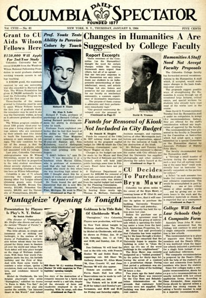 """Η είδηση της έρευνας του Δρ. Richard Youtz στο πρωτοσέλιδο της εβδομαδιαίας φοιτητικής εφημερίδας του Πανεπιστημίου του Κολούμπια, """"Columbia Daily Spectator"""" (Ιανουάριος 1964)"""