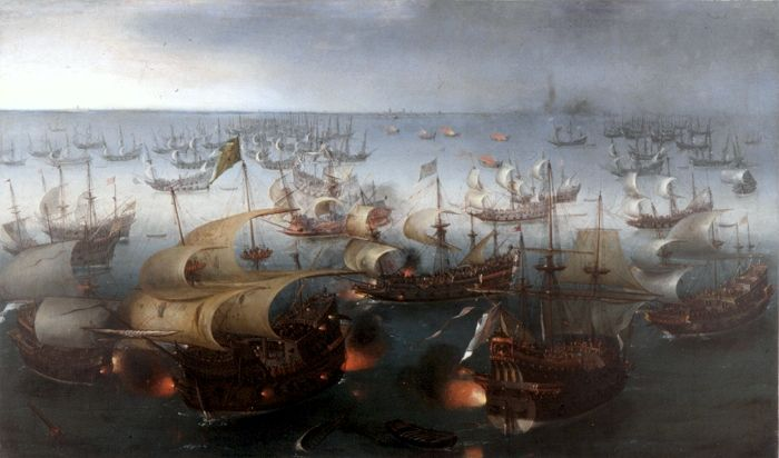 """""""Battle between England and Spain"""", 1601, πίνακας του Hendrick Cornelisz"""