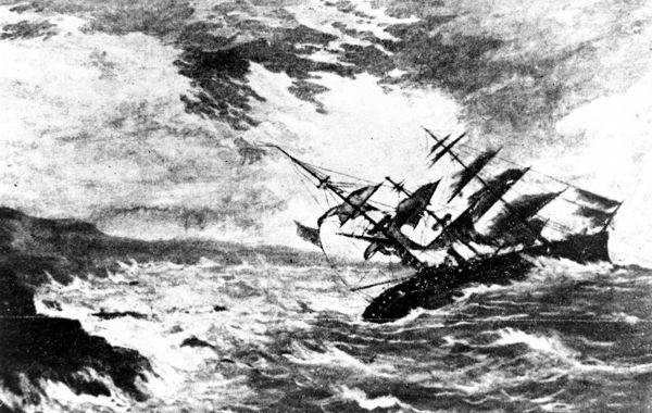 """Το """"Royal Charter"""", τη στιγμή της βύθισής του, στις 26 Οκτωβρίου του 1859"""