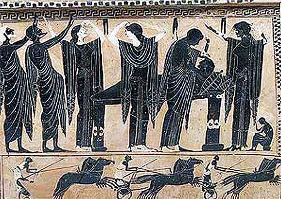 Παράσταση σε μελανόμορφο αγγείο, όπου οι γυναίκες θρηνούν τον νεκρό