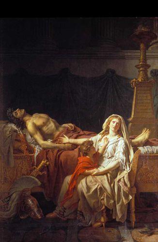Ο θρήνος της Ανδρομάχης πάνω από τον νεκρό σύζυγό της, τον Έκτορα, πίνακας του Jacques Louis David (1783)