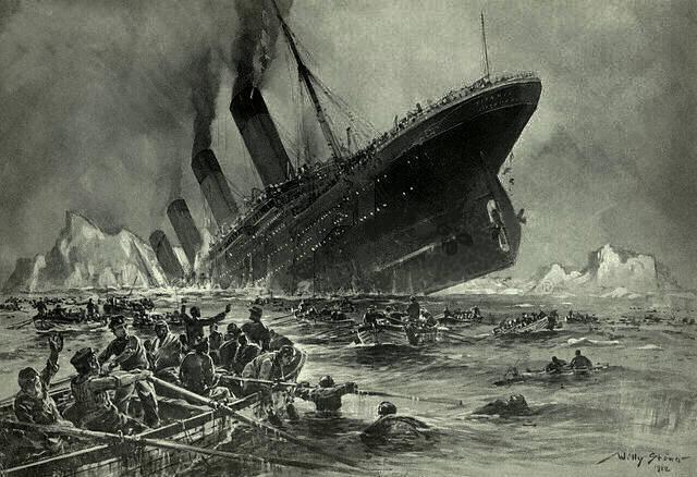 Πίνακας του Willy Stower, 1912, όπου απεικονίζεται η βύθιση του Τιτανικού