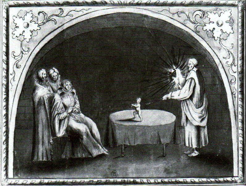 Γκραβούρα εποχής, στην οποία απεικονίζεται η τελετή μαγείας που οργανώθηκε από τον Cosimo Ruggeri (δεξιά) για την Αικατερίνη των Μεδίκων (καθήμενη αριστερά)