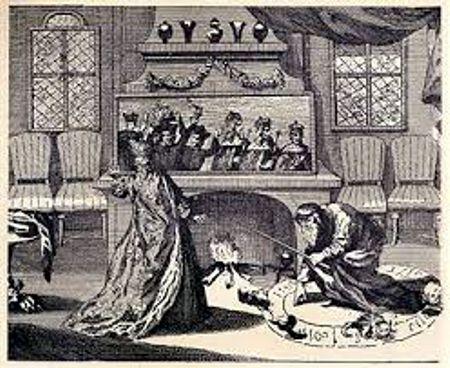 Η Αικατερίνη των Μεδίκων, κατά τη διάρκεια της απόκρυφης τελετής μπροστά στον μαγικό καθρέφτη, όπου εμφανίζονται τα παιδιά της