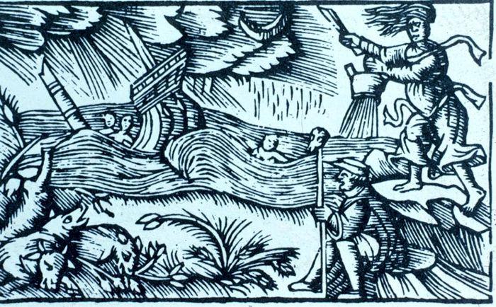 Μάγισσες προκαλούν ναυάγιο (γκραβούρα εποχής)