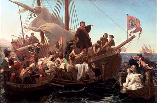 """Ο Χριστόφορος Κολόμβος στο """"Σάντα Μαρία"""" το 1492"""