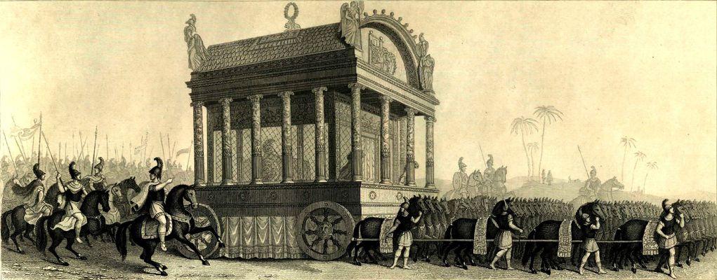 Η νεκρική άμαξα του Αλεξάνδρου, σύμφωνα με τις πληροφορίες του Διόδωρου του Σικελιώτη (αναπαράσταση του 19ου αιώνα)