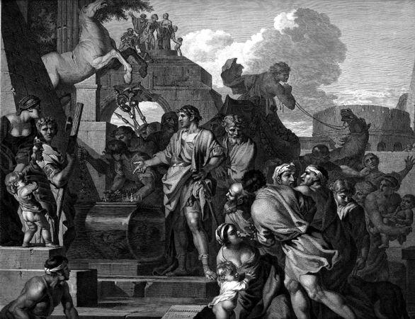 Ο Οκταβιανός Αύγουστος κατά την επίσκεψη του στον τάφο του Αλέξανδρου, χαρακτικό του 1643