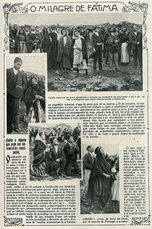 """Ρεπορτάζ της πορτογαλικής εφημερίδας """"lllustracao portugueza"""", στις 29/10/1917, που παρουσίαζε τα γεγονότα της Φατίμα"""