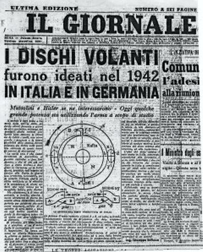 """Πρωτοσέλιδο της ιταλικής εφημερίδας """"Il Giornale"""", στο οποίο ο Belluzzo εξηγεί τη δομή και τη λειτουργία ενός ιπτάμενου δίσκου"""