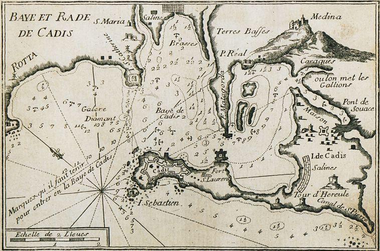 Χάρτης του λιμανιού και του κόλπου τoυ Κάδιξ (Cadiz), τα αρχαία Γάδειρα, στην Ισπανία (1804)
