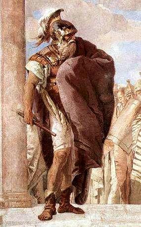 """Αγαμέμνων, λεπτομέρεια από τον πίνακα """"Η οργή του Αχιλλέα"""" του Ιταλού ζωγράφου Giovanni Battista Tiepolo (1696-1770)"""