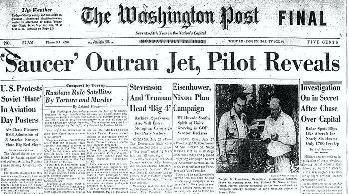 """Πρωτοσέλιδο της εφημερίδας """"The Washington Post"""", στις 28/07/1952"""