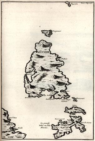 Ο χάρτης της Μυκόνου, από το βιβλίο του Tournefort
