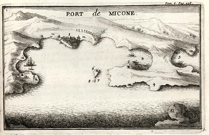 Το λιμάνι της Μυκόνου, την εποχή που την επισκέφτηκε ο Tournefort και απεικονίστηκε στο βιβλίο του