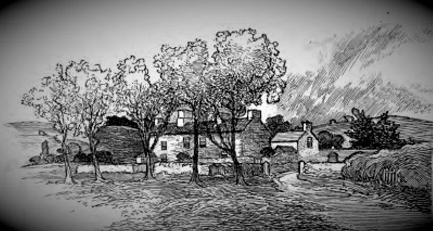 """Γκραβούρα εποχής, από το βιβλίο """"Στοιχειωμένα Σπίτια"""", στην οποία απεικονίζεται το Croglin Low Hall"""