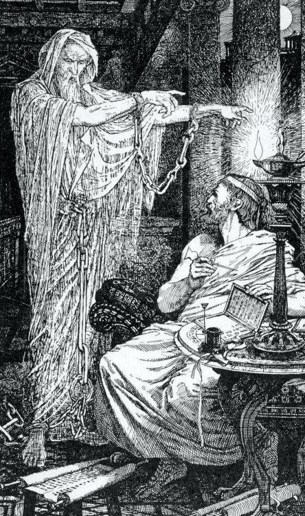Ο Αθηνόδωρος αντιμέτωπος με το φάντασμα. Γκραβούρα του Άγγλου ζωγράφου Henry Justice Ford (1860 - 1941)