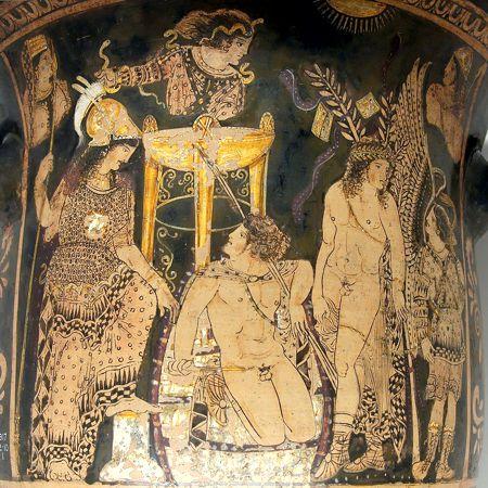 Ο Ορέστης στους Δελφούς, πλαισιωμένος από την Θεά Αθηνά και τον Πυλάδη, ανάμεσα στις Ερινύες και την Πυθία. Κρατήρας του 330 π.Χ.