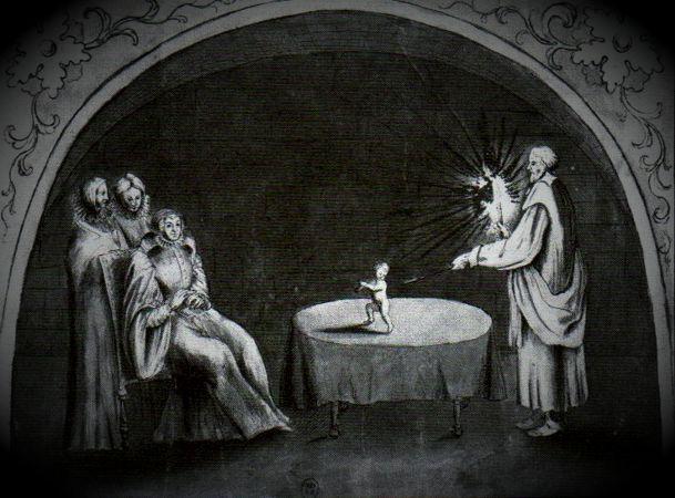 Γκραβούρα εποχής, στην οποία απεικονίζεται κάποια μαγική τελετή του Cosimo Ruggeri, παρουσία της Αικατερίνης των Μεδίκων