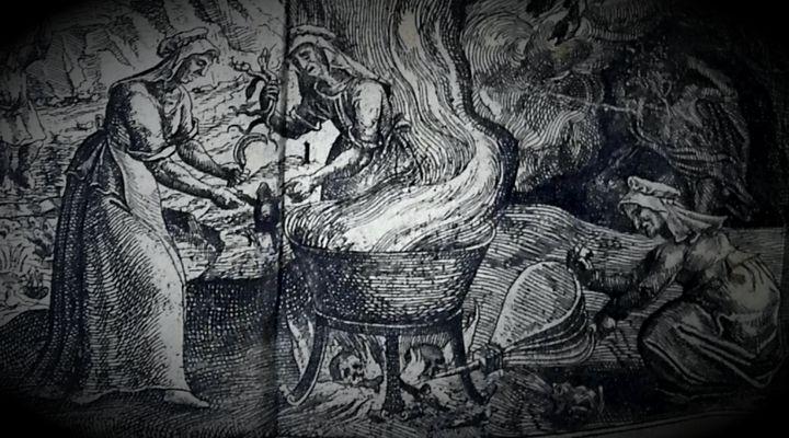 """Απεικόνιση μαγισσών από το βιβλίο του Pierre de Lancre """"Tableau de l'inconstance des mauvais anges et demons"""", που εκδόθηκε το 1612"""