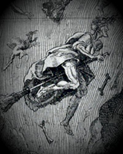 """Μάγισσα από το βιβλίο του Pierre de Lancre """"Tableau de l'inconstance des mauvais anges et demons"""", που εκδόθηκε το 1612"""